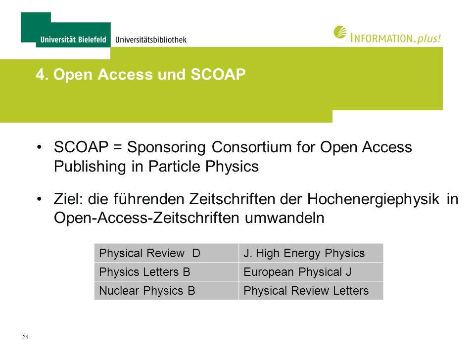24 4. Open Access und SCOAP SCOAP = Sponsoring Consortium for Open Access Publishing in Particle Physics Ziel: die führenden Zeitschriften der Hochene