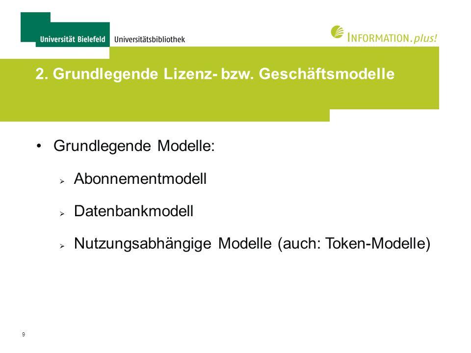 9 2. Grundlegende Lizenz- bzw. Geschäftsmodelle Grundlegende Modelle: Abonnementmodell Datenbankmodell Nutzungsabhängige Modelle (auch: Token-Modelle)