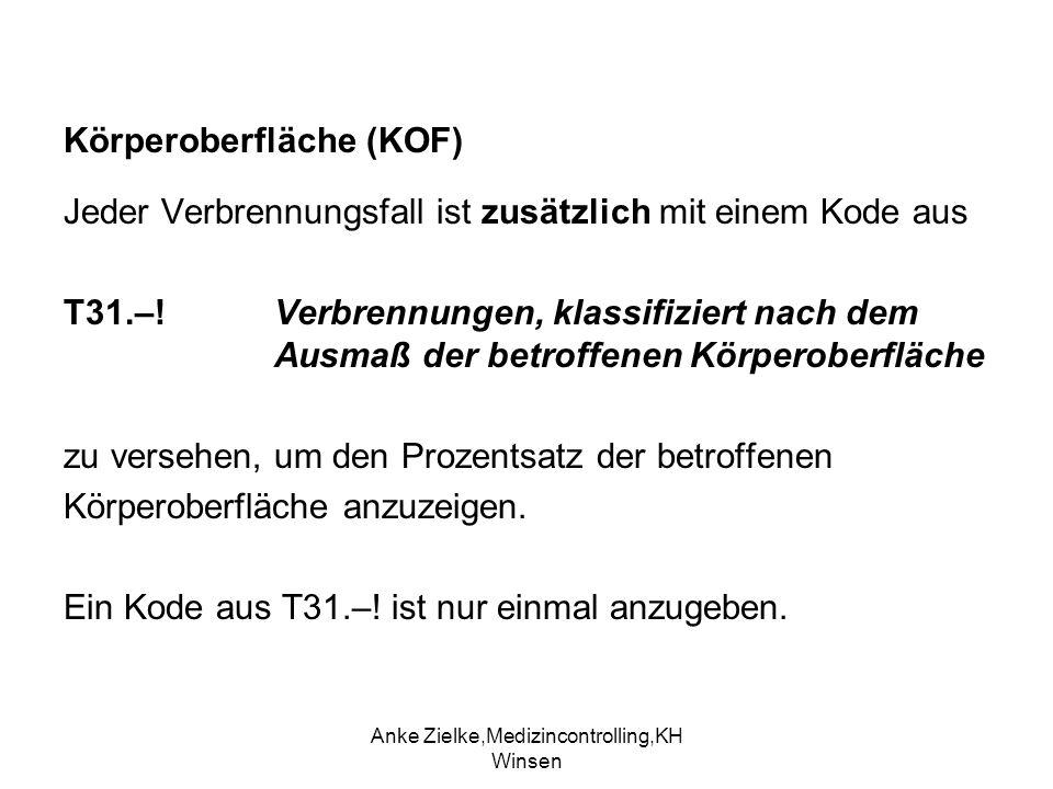 Anke Zielke,Medizincontrolling,KH Winsen Körperoberfläche (KOF) Jeder Verbrennungsfall ist zusätzlich mit einem Kode aus T31.–! Verbrennungen, klassif