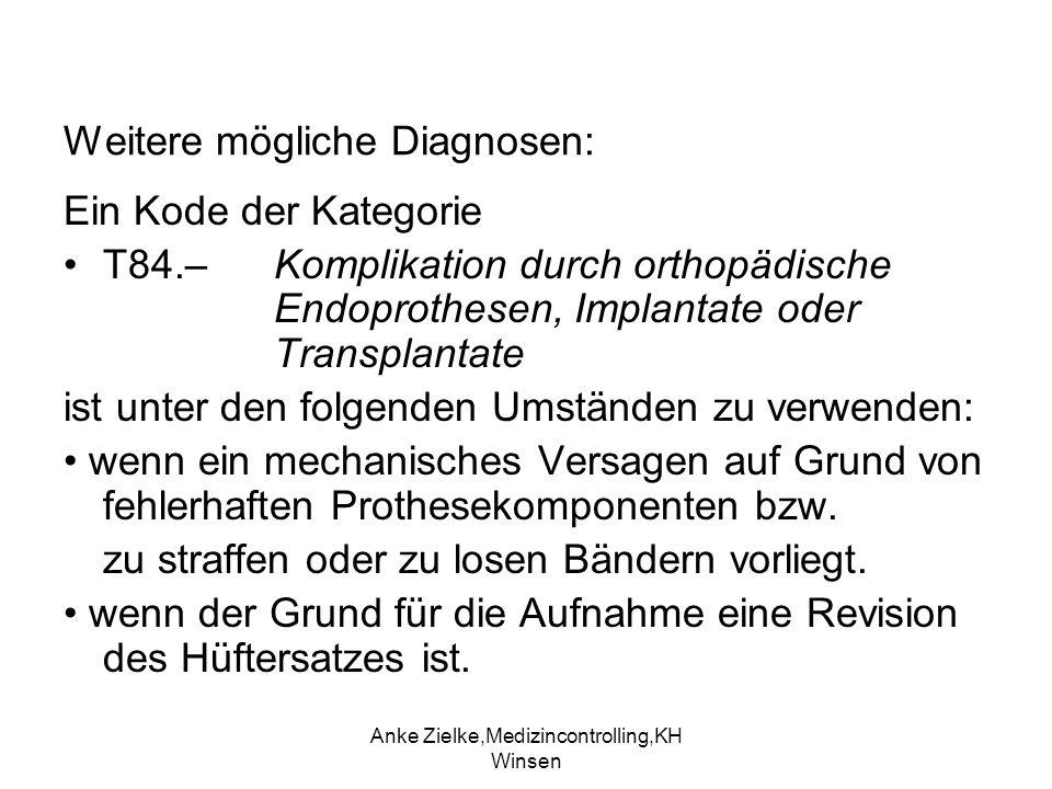 Anke Zielke,Medizincontrolling,KH Winsen Weitere mögliche Diagnosen: Ein Kode der Kategorie T84.– Komplikation durch orthopädische Endoprothesen, Impl