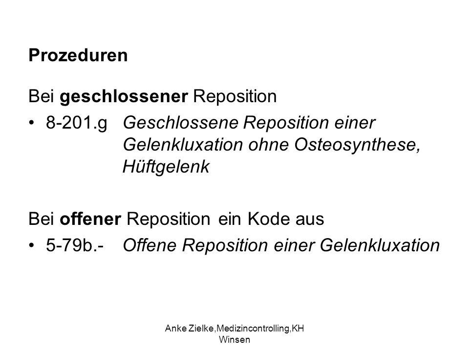 Anke Zielke,Medizincontrolling,KH Winsen Prozeduren Bei geschlossener Reposition 8-201.g Geschlossene Reposition einer Gelenkluxation ohne Osteosynthe