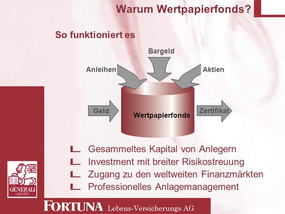Wertpapierfonds Warum Wertpapierfonds? Gesammeltes Kapital von Anlegern Investment mit breiter Risikostreuung Zugang zu den weltweiten Finanzmärkten P