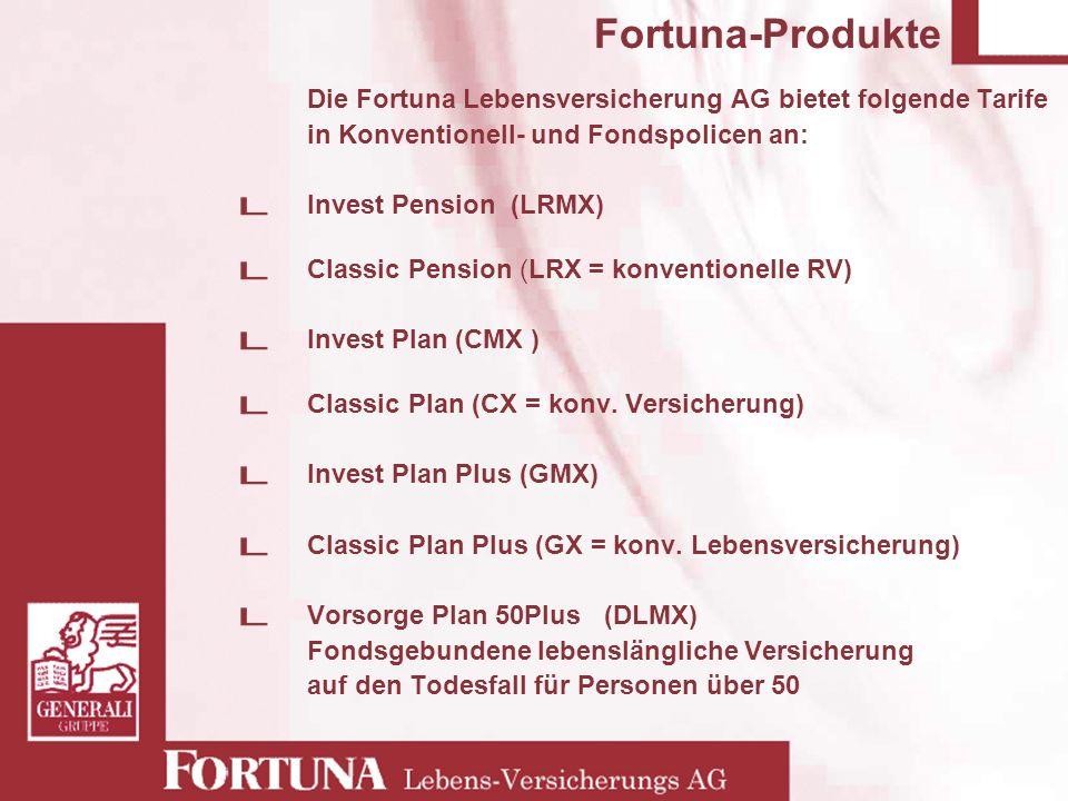 Fortuna-Produkte Die Fortuna Lebensversicherung AG bietet folgende Tarife in Konventionell- und Fondspolicen an: Invest Pension (LRMX) Classic Pension