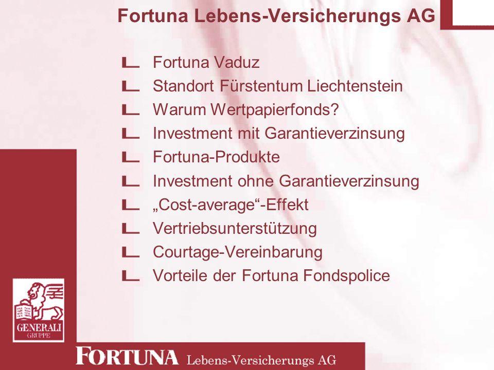 Fortuna Lebens-Versicherungs AG Fortuna Vaduz Standort Fürstentum Liechtenstein Warum Wertpapierfonds? Investment mit Garantieverzinsung Fortuna-Produ
