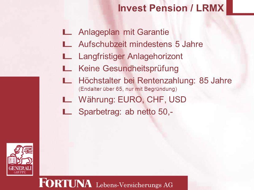 Invest Pension / LRMX Anlageplan mit Garantie Aufschubzeit mindestens 5 Jahre Langfristiger Anlagehorizont Keine Gesundheitsprüfung Höchstalter bei Re