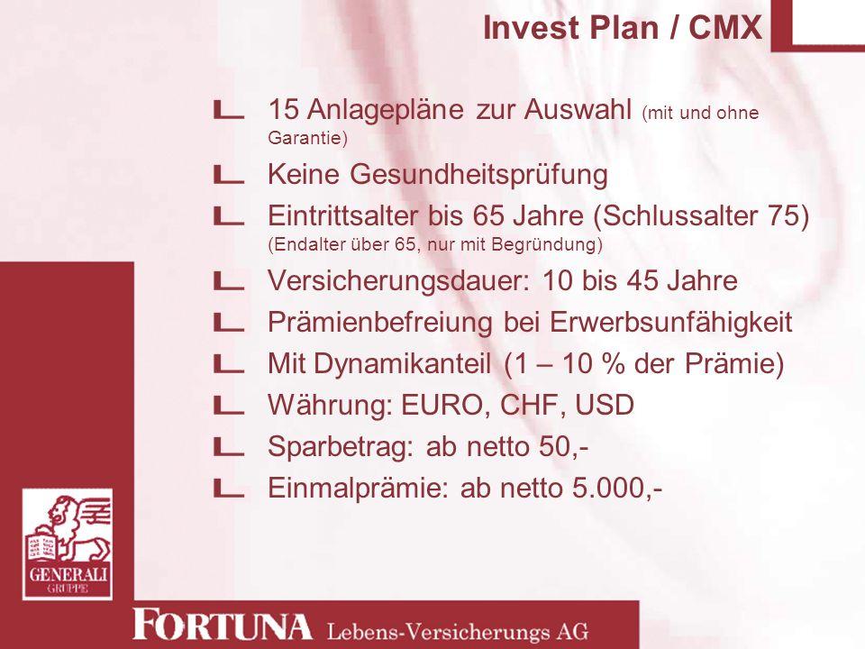 Invest Plan / CMX 15 Anlagepläne zur Auswahl (mit und ohne Garantie) Keine Gesundheitsprüfung Eintrittsalter bis 65 Jahre (Schlussalter 75) (Endalter