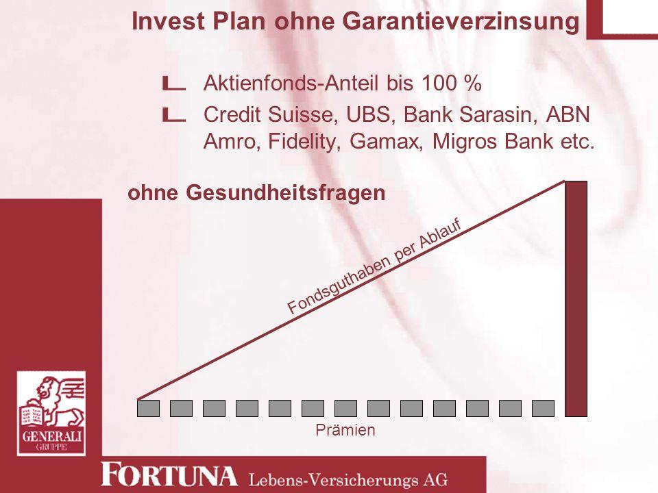 Invest Plan ohne Garantieverzinsung Aktienfonds-Anteil bis 100 % Credit Suisse, UBS, Bank Sarasin, ABN Amro, Fidelity, Gamax, Migros Bank etc. ohne Ge