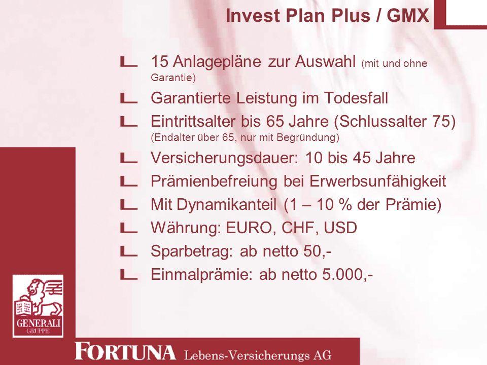 Invest Plan Plus / GMX 15 Anlagepläne zur Auswahl (mit und ohne Garantie) Garantierte Leistung im Todesfall Eintrittsalter bis 65 Jahre (Schlussalter