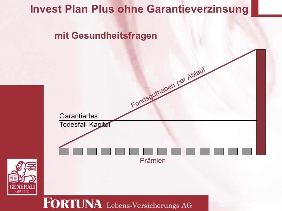 Invest Plan Plus ohne Garantieverzinsung mit Gesundheitsfragen Prämien Fondsguthaben per Ablauf Garantiertes Todesfall Kapital