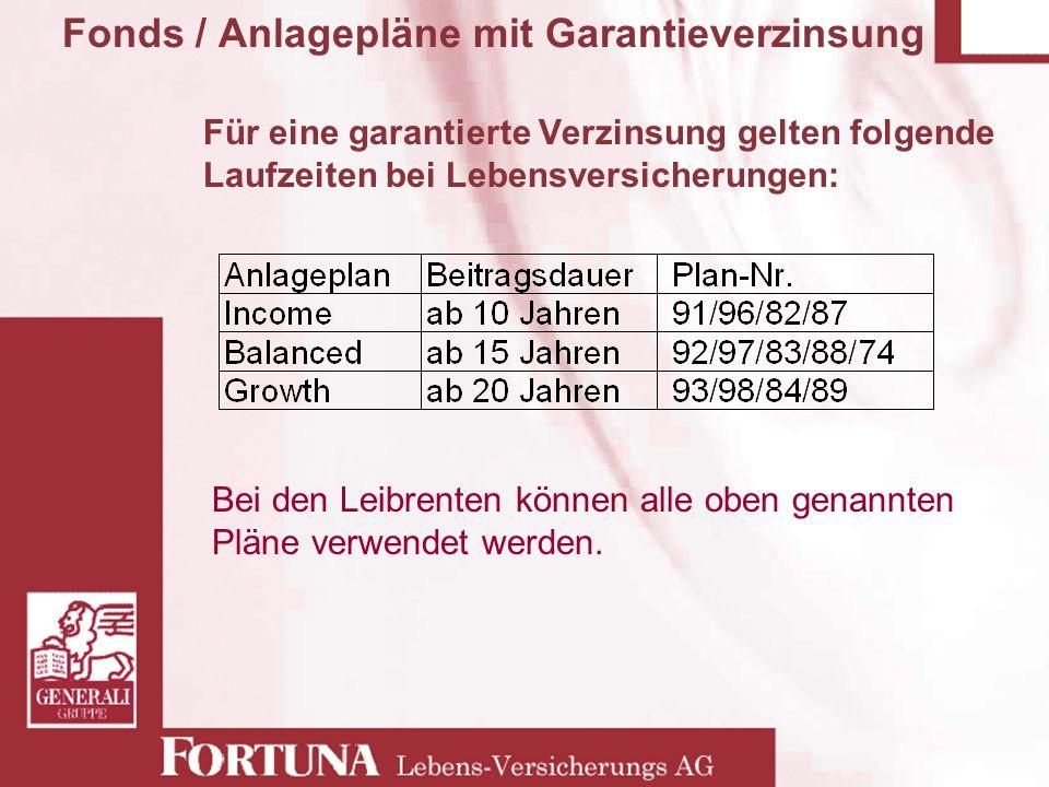 Für eine garantierte Verzinsung gelten folgende Laufzeiten bei Lebensversicherungen: Fonds / Anlagepläne mit Garantieverzinsung Bei den Leibrenten kön