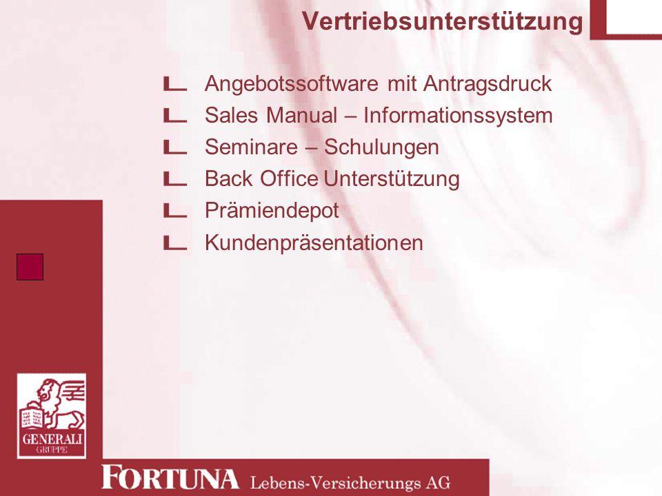 Vertriebsunterstützung Angebotssoftware mit Antragsdruck Sales Manual – Informationssystem Seminare – Schulungen Back Office Unterstützung Prämiendepo