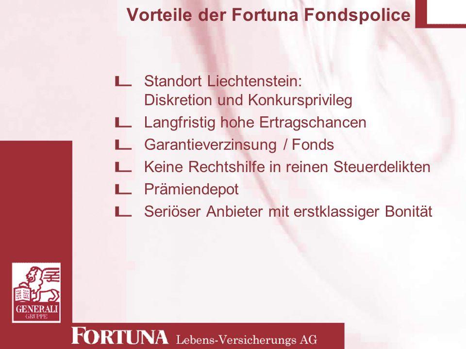 Vorteile der Fortuna Fondspolice Standort Liechtenstein: Diskretion und Konkursprivileg Langfristig hohe Ertragschancen Garantieverzinsung / Fonds Kei