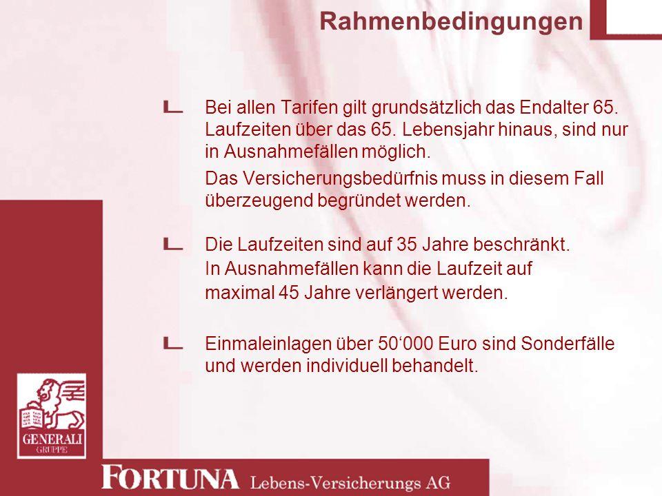 Rahmenbedingungen Bei allen Tarifen gilt grundsätzlich das Endalter 65. Laufzeiten über das 65. Lebensjahr hinaus, sind nur in Ausnahmefällen möglich.