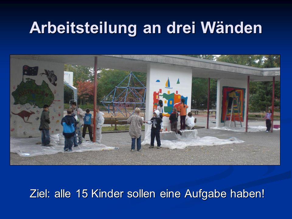 Arbeitsteilung an drei Wänden Ziel: alle 15 Kinder sollen eine Aufgabe haben!