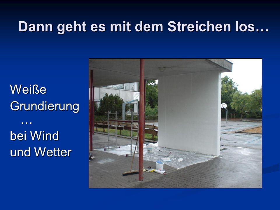 Dann geht es mit dem Streichen los… Weiße Grundierung … bei Wind und Wetter