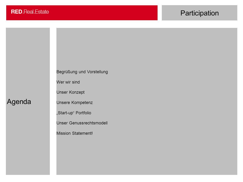 Participation Agenda Begrüßung und Vorstellung Wer wir sind Unser Konzept Unsere Kompetenz Start-up Portfolio Unser Genussrechtsmodell Mission Stateme