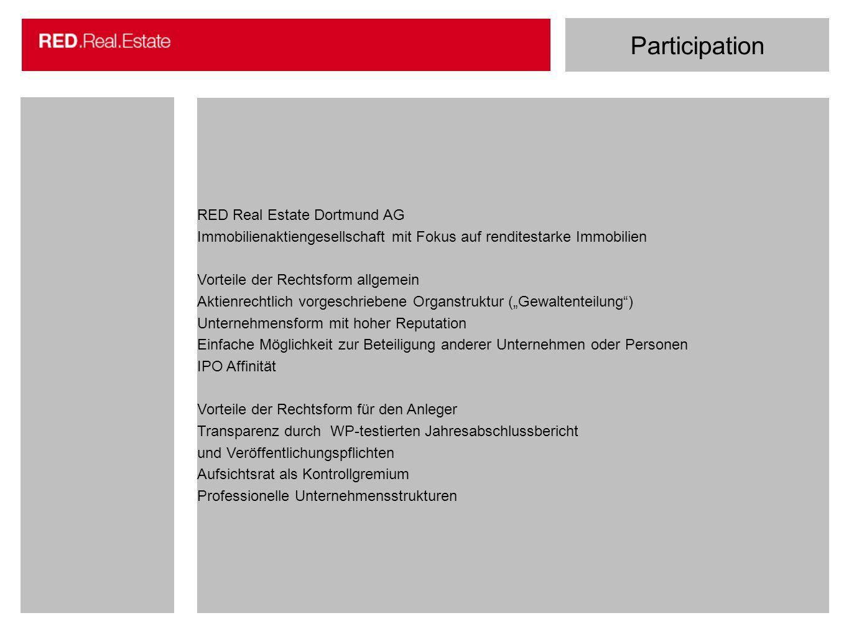 Participation RED Real Estate Dortmund AG Immobilienaktiengesellschaft mit Fokus auf renditestarke Immobilien Vorteile der Rechtsform allgemein Aktien