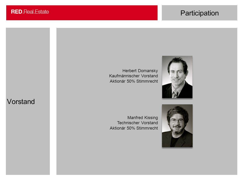 Participation Vorstand Herbert Domansky Kaufmännischer Vorstand Aktionär 50% Stimmrecht Manfred Kissing Technischer Vorstand Aktionär 50% Stimmrecht