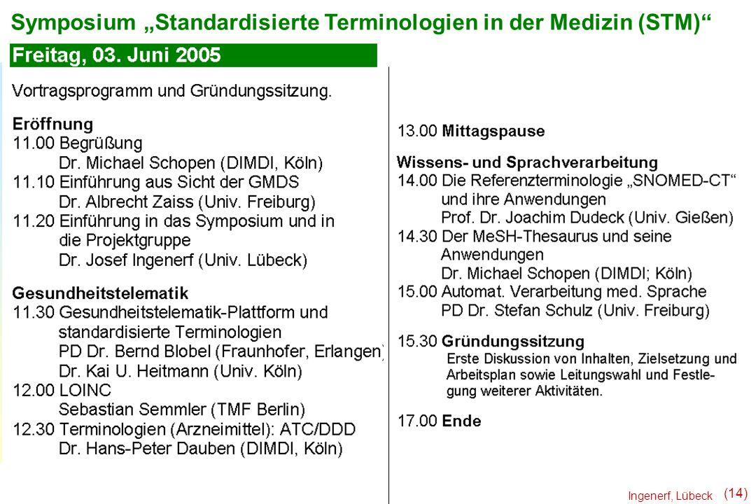 Ingenerf, Lübeck (14) Symposium Standardisierte Terminologien in der Medizin (STM)