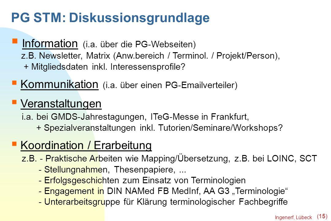 Ingenerf, Lübeck (15) PG STM: Diskussionsgrundlage Information (i.a. über die PG-Webseiten) z.B. Newsletter, Matrix (Anw.bereich / Terminol. / Projekt