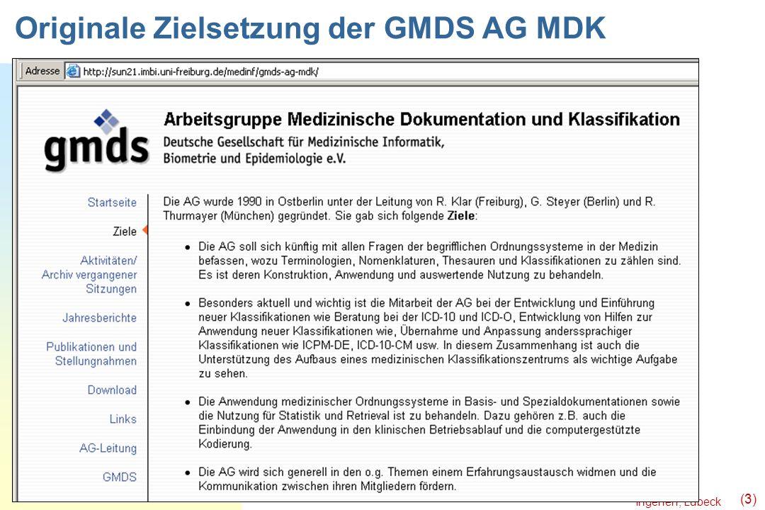 Ingenerf, Lübeck (3) Originale Zielsetzung der GMDS AG MDK