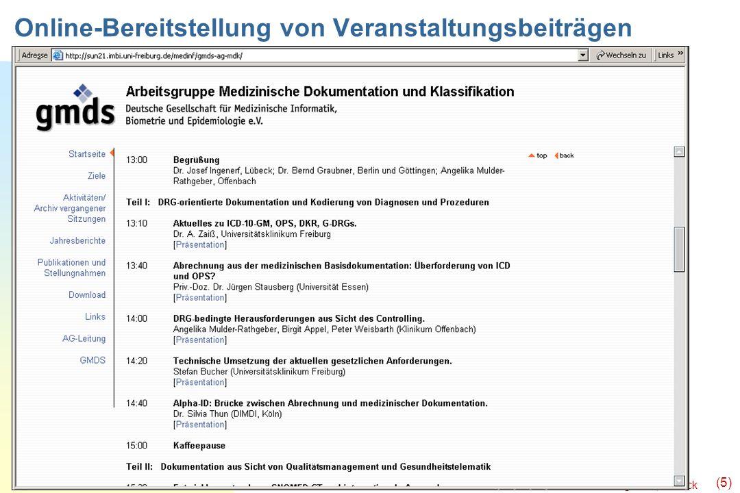 Ingenerf, Lübeck (5) Online-Bereitstellung von Veranstaltungsbeiträgen