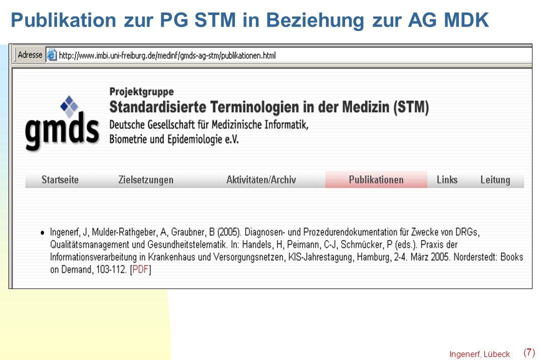 Ingenerf, Lübeck (7) Publikation zur PG STM in Beziehung zur AG MDK