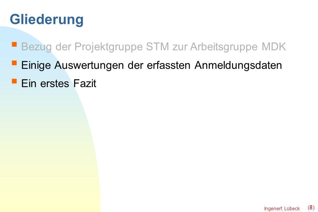 Ingenerf, Lübeck (8) Gliederung Bezug der Projektgruppe STM zur Arbeitsgruppe MDK Einige Auswertungen der erfassten Anmeldungsdaten Ein erstes Fazit
