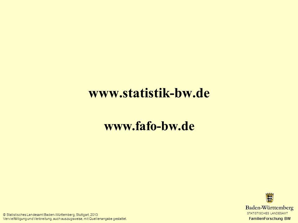 STATISTISCHES LANDESAMT FamilienForschung BW © Statistisches Landesamt Baden-Württemberg, Stuttgart, 2013 Vervielfältigung und Verbreitung, auch auszu