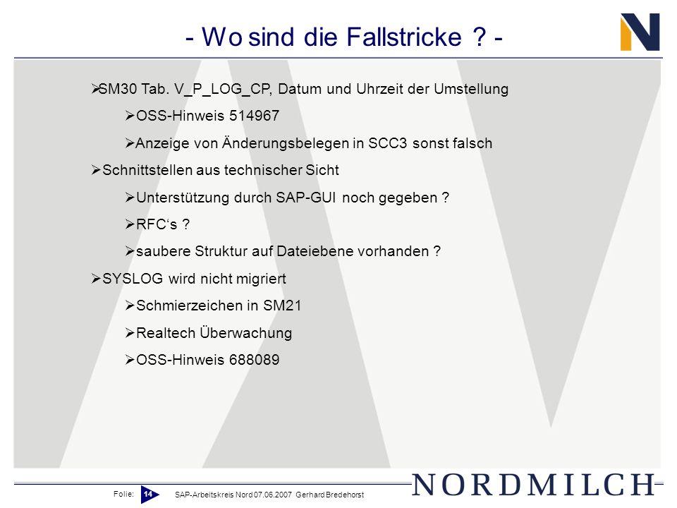 Folie: 14 SAP-Arbeitskreis Nord 07.06.2007 Gerhard Bredehorst - Wo sind die Fallstricke ? - SM30 Tab. V_P_LOG_CP, Datum und Uhrzeit der Umstellung OSS