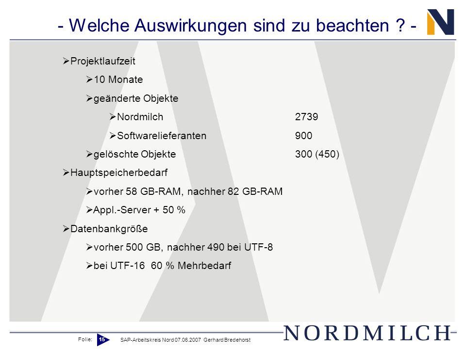 Folie: 15 SAP-Arbeitskreis Nord 07.06.2007 Gerhard Bredehorst - Welche Auswirkungen sind zu beachten ? - Projektlaufzeit 10 Monate geänderte Objekte N