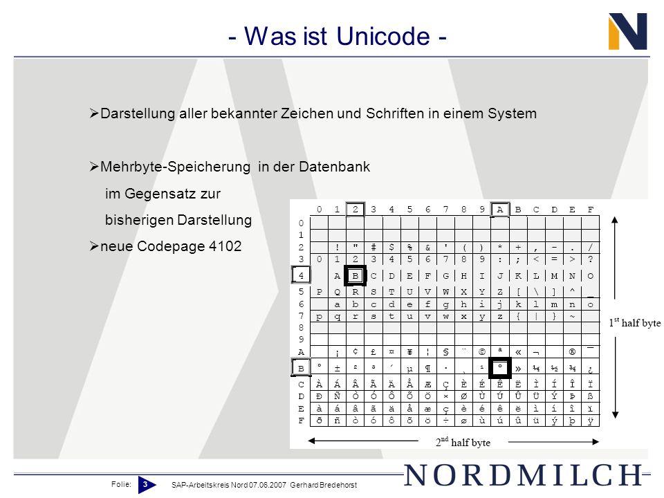 Folie: 3 SAP-Arbeitskreis Nord 07.06.2007 Gerhard Bredehorst - Was ist Unicode - Darstellung aller bekannter Zeichen und Schriften in einem System Mehrbyte-Speicherung in der Datenbank im Gegensatz zur bisherigen Darstellung neue Codepage 4102