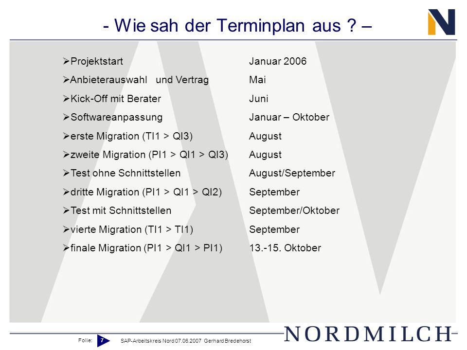 Folie: 7 SAP-Arbeitskreis Nord 07.06.2007 Gerhard Bredehorst - Wie sah der Terminplan aus ? – ProjektstartJanuar 2006 Anbieterauswahlund VertragMai Ki