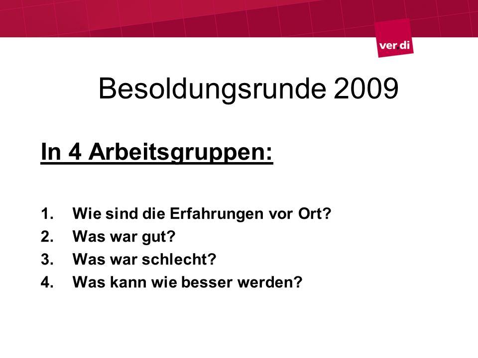 Besoldungsrunde 2009 In 4 Arbeitsgruppen: 1.Wie sind die Erfahrungen vor Ort? 2.Was war gut? 3.Was war schlecht? 4.Was kann wie besser werden?