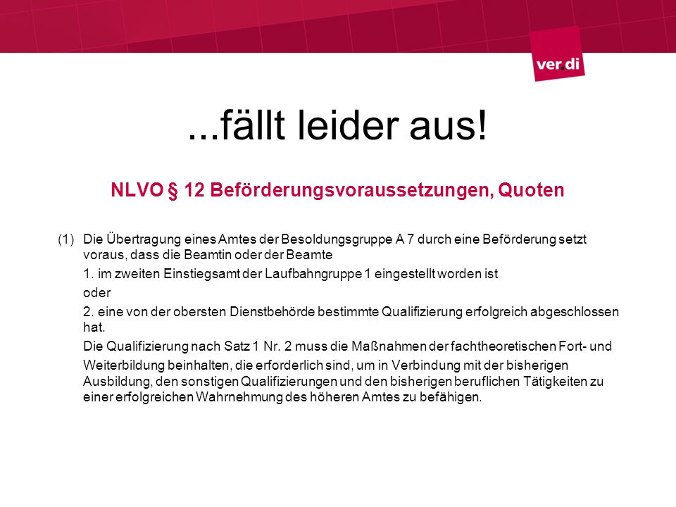 ...fällt leider aus! NLVO § 12 Beförderungsvoraussetzungen, Quoten (1) Die Übertragung eines Amtes der Besoldungsgruppe A 7 durch eine Beförderung set