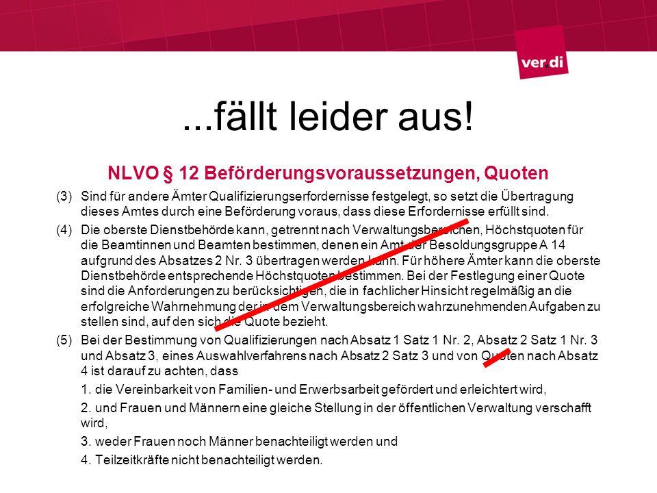 ...fällt leider aus! NLVO § 12 Beförderungsvoraussetzungen, Quoten (3) Sind für andere Ämter Qualifizierungserfordernisse festgelegt, so setzt die Übe
