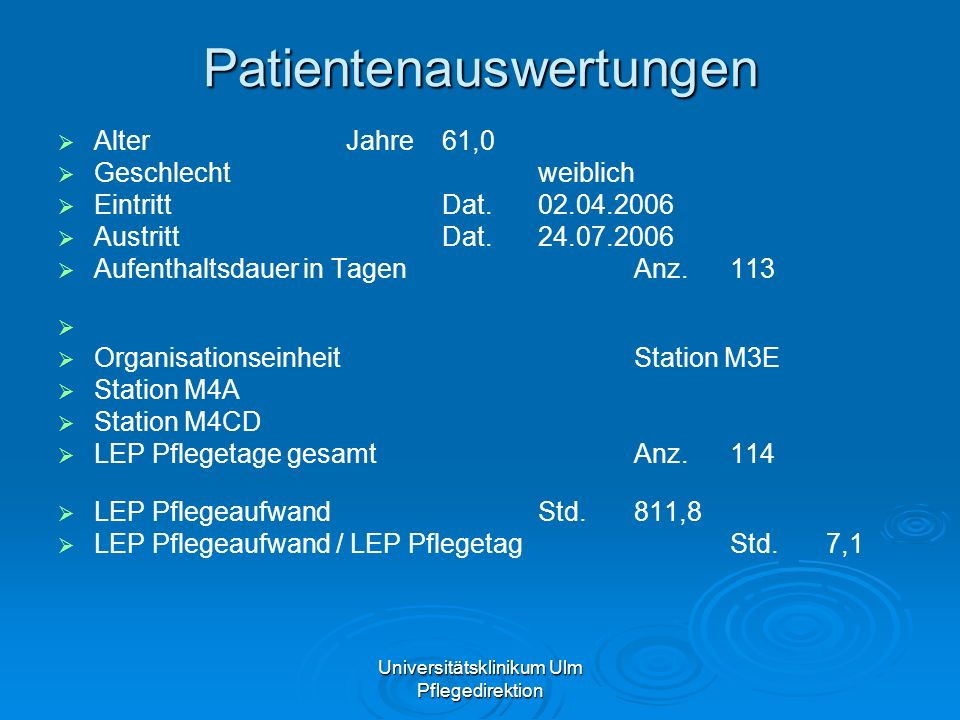 Universitätsklinikum Ulm Pflegedirektion Patientenauswertungen AlterJahre61,0 Geschlechtweiblich EintrittDat.02.04.2006 AustrittDat.24.07.2006 Aufenth