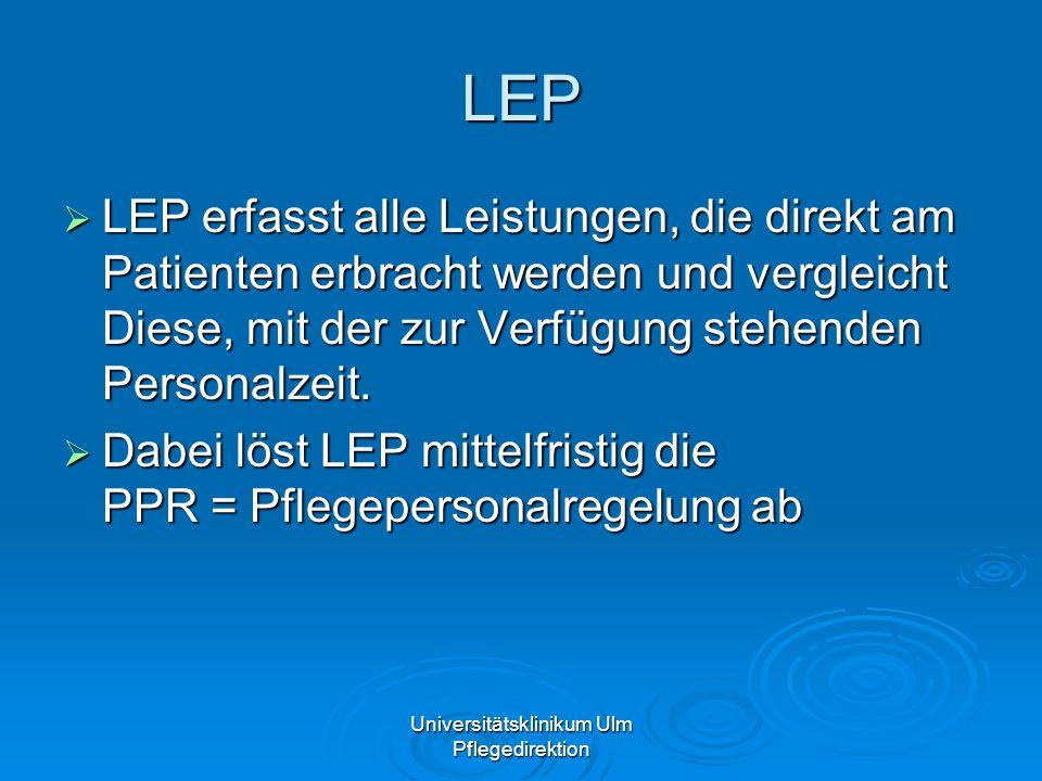 Universitätsklinikum Ulm Pflegedirektion LEP LEP erfasst alle Leistungen, die direkt am Patienten erbracht werden und vergleicht Diese, mit der zur Ve