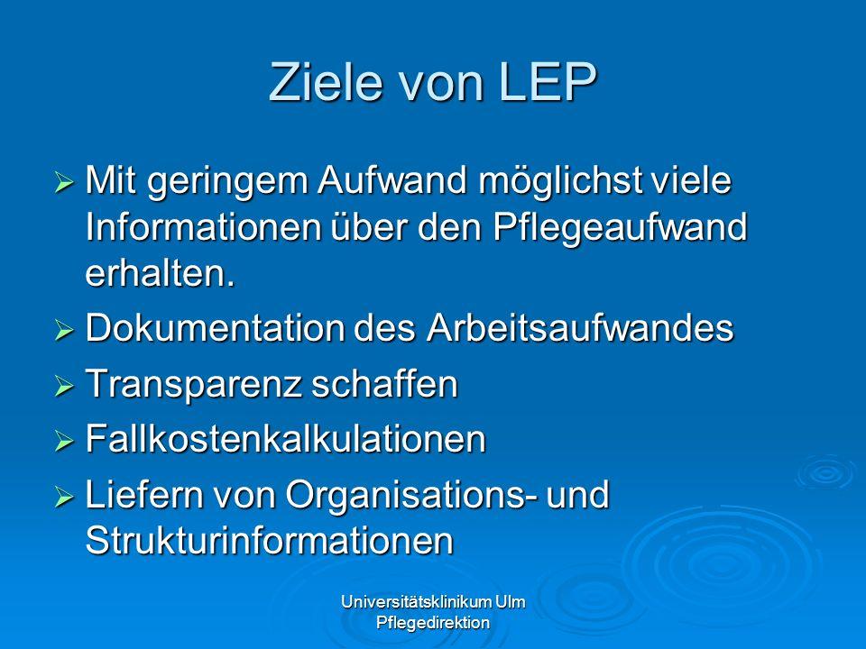 Universitätsklinikum Ulm Pflegedirektion Ziele von LEP Mit geringem Aufwand möglichst viele Informationen über den Pflegeaufwand erhalten. Mit geringe