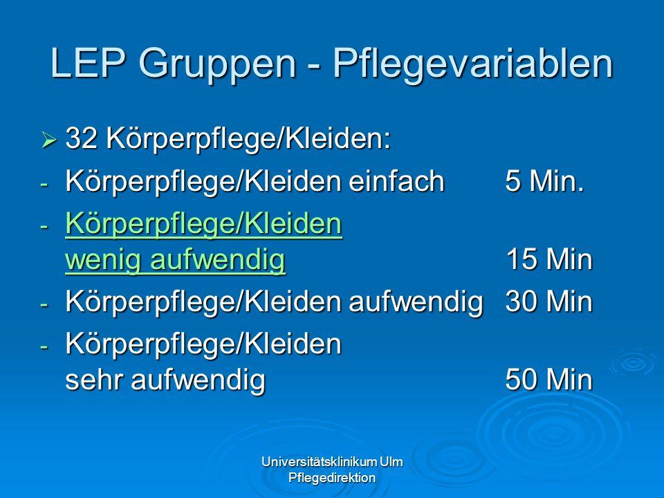 Universitätsklinikum Ulm Pflegedirektion LEP Gruppen - Pflegevariablen 32 Körperpflege/Kleiden: 32 Körperpflege/Kleiden: - Körperpflege/Kleiden einfac