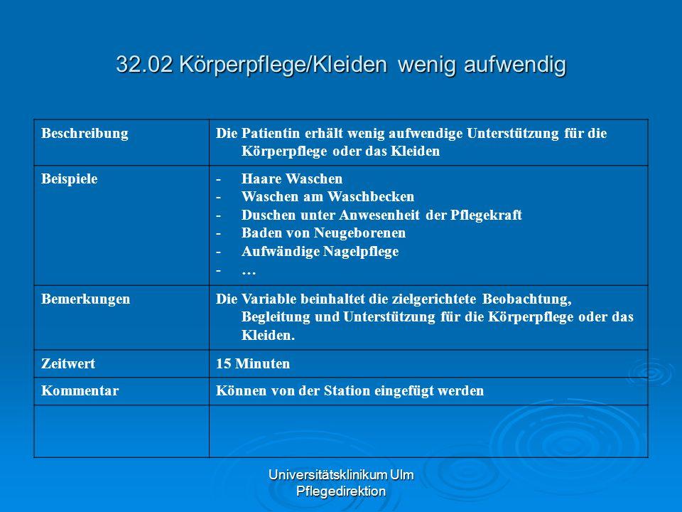 Universitätsklinikum Ulm Pflegedirektion 32.02 Körperpflege/Kleiden wenig aufwendig BeschreibungDie Patientin erhält wenig aufwendige Unterstützung fü