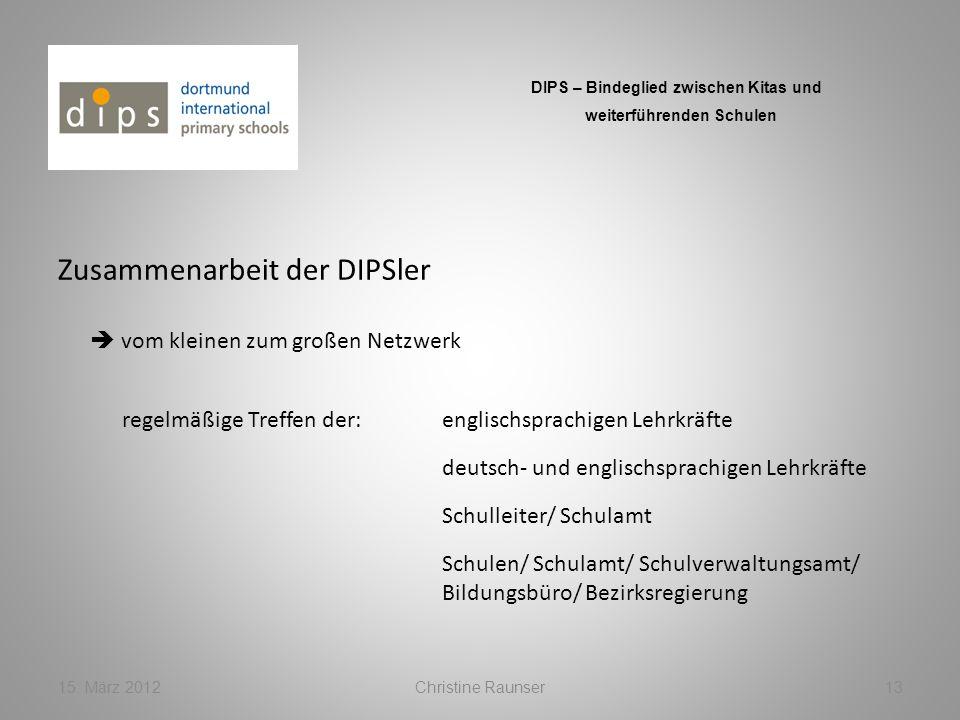 Zusammenarbeit der DIPSler 15. März 2012Christine Raunser13 DIPS – Bindeglied zwischen Kitas und weiterführenden Schulen vom kleinen zum großen Netzwe