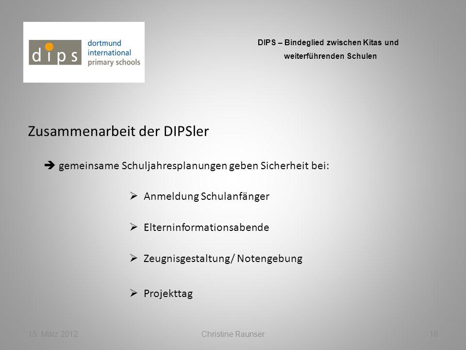 Zusammenarbeit der DIPSler 15. März 2012Christine Raunser16 DIPS – Bindeglied zwischen Kitas und weiterführenden Schulen gemeinsame Schuljahresplanung