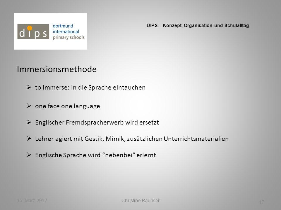 Immersionsmethode 15. März 2012Christine Raunser 17 DIPS – Konzept, Organisation und Schulalltag to immerse: in die Sprache eintauchen Englische Sprac