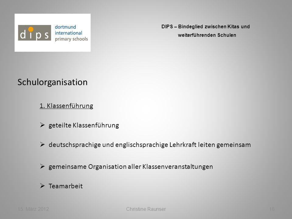 Schulorganisation 15. März 2012Christine Raunser18 DIPS – Bindeglied zwischen Kitas und weiterführenden Schulen 1. Klassenführung gemeinsame Organisat