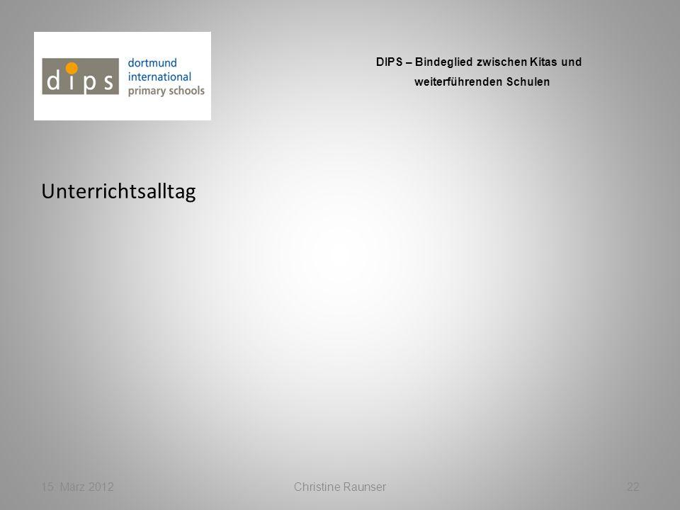 Unterrichtsalltag 15. März 2012Christine Raunser22 DIPS – Bindeglied zwischen Kitas und weiterführenden Schulen