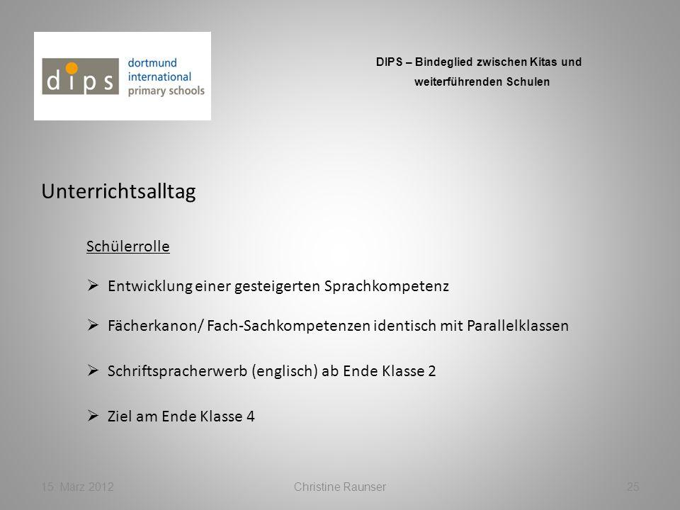 Unterrichtsalltag 15. März 2012Christine Raunser25 DIPS – Bindeglied zwischen Kitas und weiterführenden Schulen Schülerrolle Fächerkanon/ Fach-Sachkom