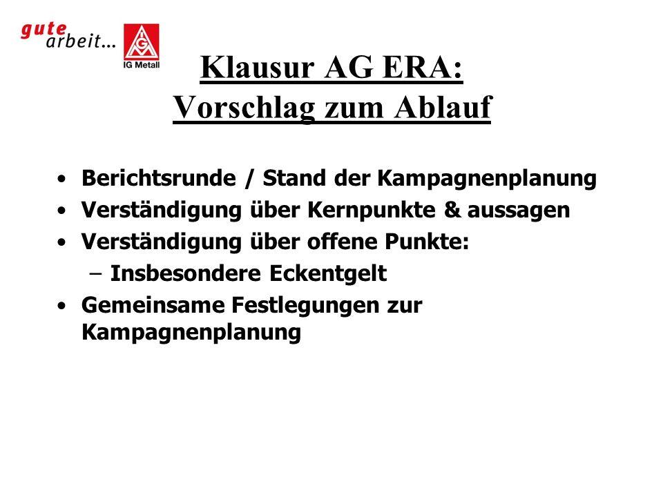 Klausur AG ERA: Vorschlag zum Ablauf Berichtsrunde / Stand der Kampagnenplanung Verständigung über Kernpunkte & aussagen Verständigung über offene Pun