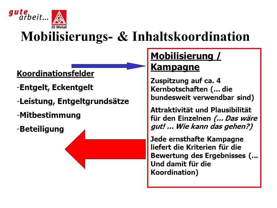 Mobilisierungs- & Inhaltskoordination Koordinationsfelder -Entgelt, Eckentgelt -Leistung, Entgeltgrundsätze -Mitbestimmung -Beteiligung Mobilisierung