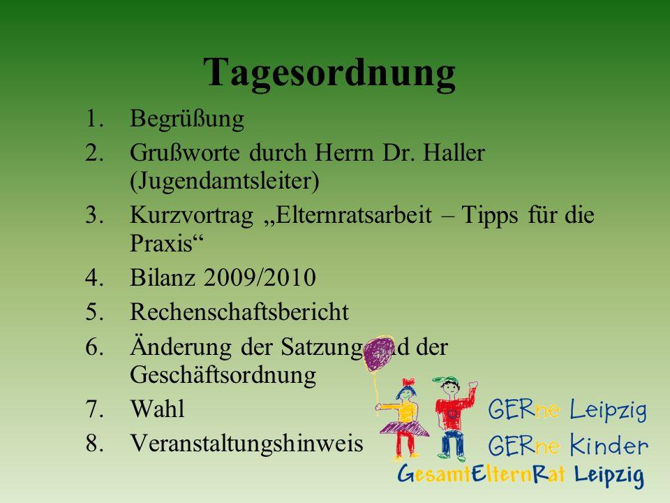 Tagesordnung 1. Begrüßung 2.Grußworte durch Herrn Dr. Haller (Jugendamtsleiter) 3.Kurzvortrag Elternratsarbeit – Tipps für die Praxis 4.Bilanz 2009/20